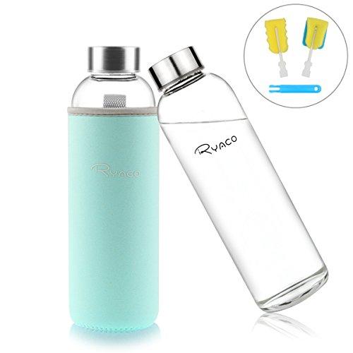 Ryaco Botella de Agua Cristal 550ml, Botella de Agua Reutili