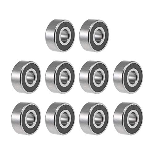 uxcell R3-2RS Deep Groove Ball Bearing 3/16-inchx1/2-inchx0.196-inch Sealed Z2 Lever Bearings 10pcs