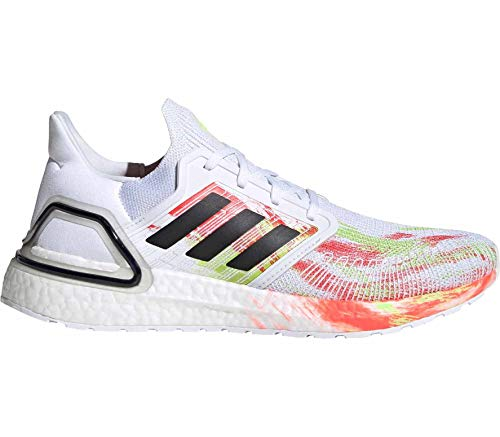 adidas Men's Ultraboost 20 Running Shoe, FTWR White Core Black Signal Green, 4.5 UK