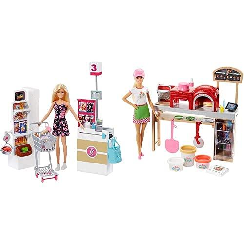 Barbie Muñeca Vamos Al Supermercado, Accesorios Muñeca, Regalo para Niñas Y Niños 3 9 Años, Color/Modelo Surtido + Quiero Ser Pizza Chef, Muñeca Y Accesorios De Juguete, Color/Modelo Surtido