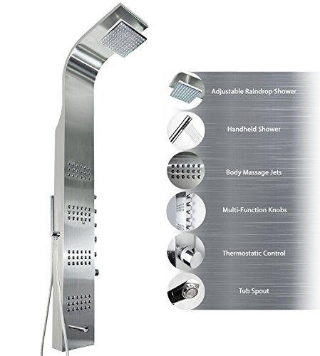 AKDY AZ-8727B 59' Thermostatic Stainless Steel Rainfall Shower Panel Tower Simultaneous Overhead Rainfall, Body Massage Jets, Hand Shower and Tub Spout