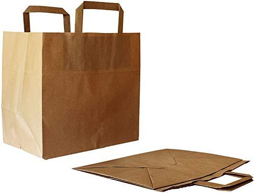 Amira 50 Papiertragetaschen 26 + 17 x 25 cm mit Deutsche Markenqualität.papiertüten braun.braune papiertüten.papiertüten mit henkel.papiertüten groß tüten Papier.papiertragetaschen papiertaschen.