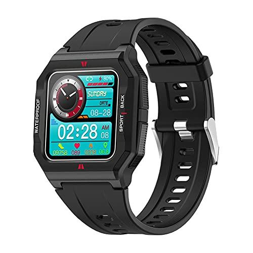 ZOZIZZ Reloj Inteligente, Reloj Deportivo de Carga inalámbrica táctil Completa Impermeable IP67, perseguidor Multifuncional,Negro