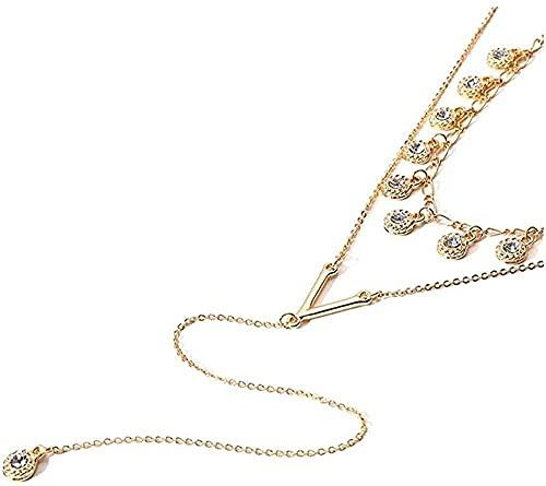 banbeitaotao Collar de Cristal de Doble Capa, Collar Largo, Collares Pendientes para Mujeres, niñas, joyería