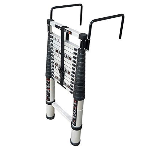 Escalera escamoteable Escalera techo desmontable con gancho, peldaño inferior y estabilizador, aluminio Extensión telescópica Escalera, 330 Lb Gran capacidad de carga, fácil de llevar ( tamaño : 2m )