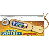 AV Andrea Verlag Holz Flaschenöffner - Happy Biersday sechszisch – zum 60. Geburtstag. Jetzt EIN kühles Bier, mit Leberriemen zum Anhängen. 3D Aufkleber mit lustigem Spruch