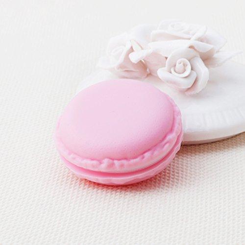 Hfior Mini organizador de joyerías, con forma de pastel de macarón, estuche de almacenamiento para anillos, pendientes, collares, regalo para niñas, madres y mujeres, color rosa