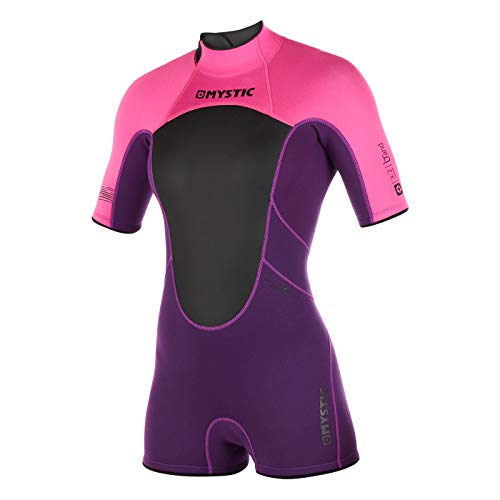 Mystic Watersports - Surf Kitesurf & Windsurfing Dames merk 3/2 mm Back Zip Shorty Wetsuit Purple - Easy Stretch
