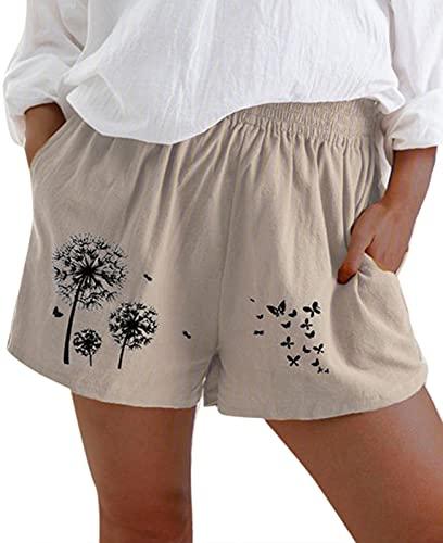 keepwo Pantalones cortos casuales para mujer con cintura elástica para verano, pantalones cortos holgados con bolsillos