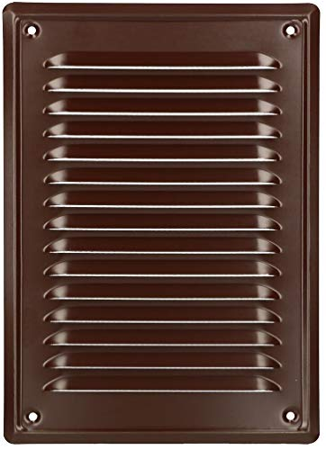 KOTARBAU® Rejilla de ventilación de 230 x 165 mm, atornillable, barnizada, color marrón, rejilla de protección contra insectos resistente a la corrosión