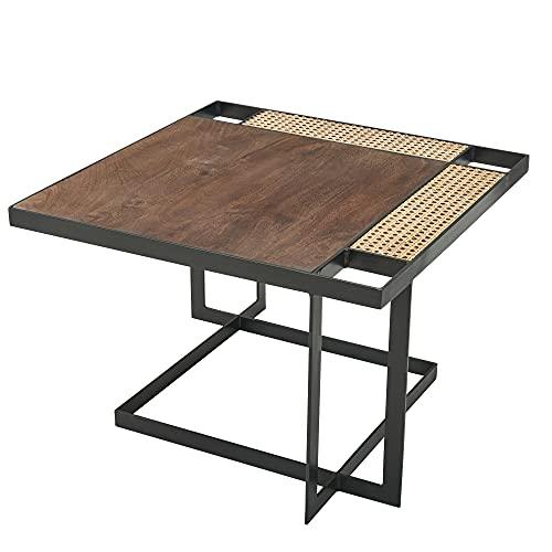 FineBuy Couchtisch Mango Massivholz/Rattan 60x40x60 cm Dunkel Sofatisch | Wohnzimmertisch Quadratisch mit Metallbeine | Tisch Braun Beistelltisch Holz/Metall Schwarz