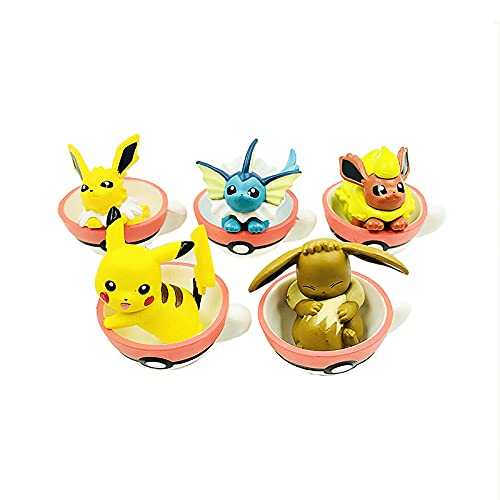 YYDS Anime Figure Pokémon Set of 5 PVC 4cm Creative Pokeball Teacups Cute Model Collection Ornaments Cars Study Desktop Office Decoration Birthday Surprises for Kids Toy Gift