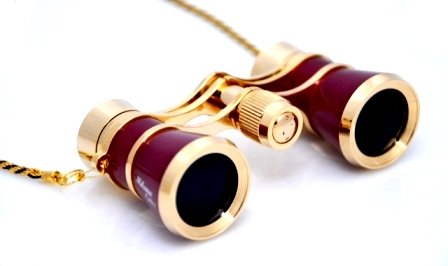 Finissimo Optics 3x25 Burgundy Opera Glasses with Chain Necklace / Theater Binoculars / with Gold Trim