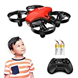 Mini Drone, Potensic Upgraded A20 RC Nano Quadcopter 2.4G 6 Axis, Altitude Hold, Headless Mode Safe and Stable Flight, Extra Batteries and Remote Control Aircraft Mini Drone for Beginners & Kids -Red