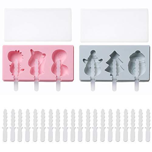 2 Stück Silikon Eiscreme Eisformen,Hausgemachte Handgemachte DIY-Eisform,Cartoon Einhorn/Schneemann Rentier,Hausgemachte Handgemachte DIY Eisform + 20 Stück Plastikstangen (Blau,Pink)