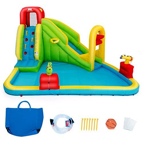 COSTWAY Hüpfburg Aufblasbare, Wasserrutsche Spielpool, Wasserspielcenter mit Rutsche, Wasserpark aufblasbar, Planschbecken 400 x 335 x 230cm Farbig