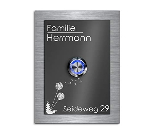 Türklingel mit Gravur LED-Klingelknopf und über 99 Motive 9x12 cm | Modell: Herrmann-Aa | gravierte Klingel aus Hochglanz Acrylglas und Edelstahl Klingelschild