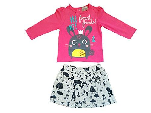mini munchkin Baby Meisjes 2 Stuk Roze Top en Grijze Rok