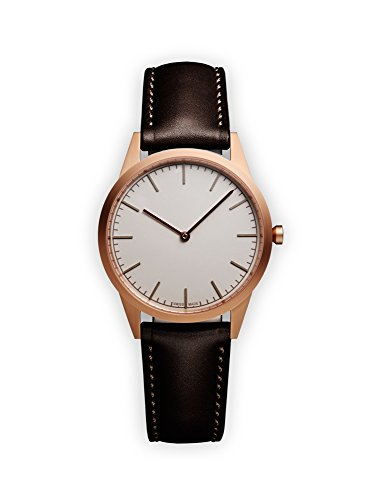 Uniform Wares Unisex Herren & Damen C35 Uhren in PVR Rose Gold with Brown Nappa Leather Strap