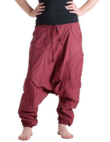 Vishes – Alternative Bekleidung – Patchwork Haremshose mit tiefem Schritt und Taschen, elastischem Bund und Tunnelzug dunkelrot 38