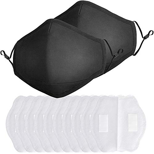 Jugaogao 2 Pack Cotton Cloth Face Mask with 10 Pcs Filter, Reusable Washable Breathable Protection Masks with Adjustable Ear Loop for Teens and Adults - Black 2 Pack