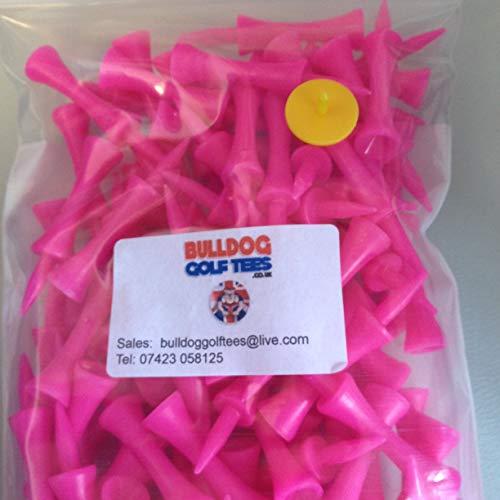 Bulldog Golf Tees SAVER PACK of 100 60mm PINK PLASTIC CASTLE TEES PLUS FREE BALL MARKER