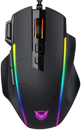 PICTEK Souris Gamer Ergonomique, Souris Gaming RGB Avec 8 Boutons Configurable- Rétroéclairage Personnalisable-8000DPI Adjustable, Haute Précision- Souris PC USB Droitier Pour FPS CS