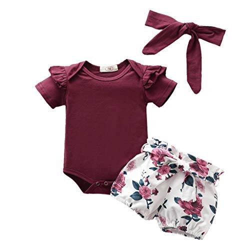 YEBIRAL Babykleidung Set Baby Mädchen Kleidung Kurzarm Body Strampler + Hose + Stirnband Neugeborene Kleinkinder Baumwolle Outfits Set 3 Stück (Weinrot 05, 0-6 Monate)