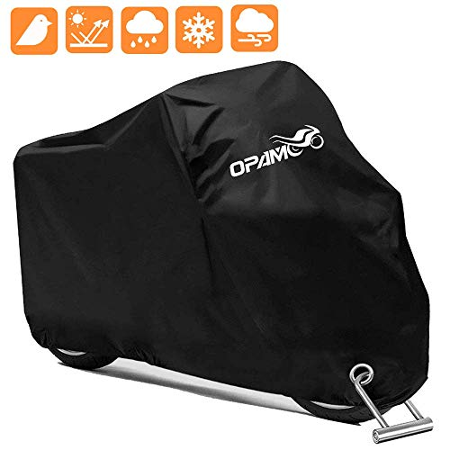 Motorcycle Scooter Cover Waterproof Outdoor  Large Medium XL 250cc 150cc 50cc Scooter Shelter for Harleys All Weather Motorbike Protection with Lock Holes Tearproof HeavyDuty