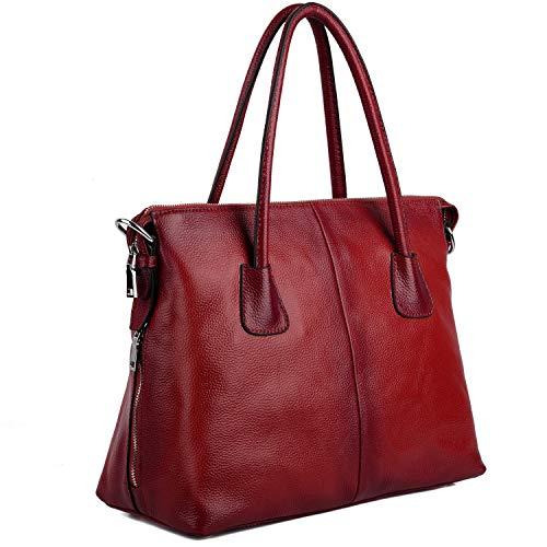 YALUXE Damen Vintage Style Soft Leder Satchel Purse Shopper gross Schultertasche passt 13 Zoll Laptop rot