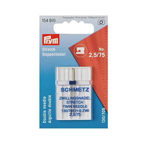 Prym Schmetz 154910-Aguja Doble para máquina de Coser Stretch 130/705, No. 75/2,5 mm, Acero, Plateado
