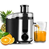Juicer, Picberm Centrifugal Juicer Machines Easy to Clean, Wide Mouth Juice Extractor with Brush & Recipes for Fruits and Vegetables, Dual Speed Stainless Steel BPA-Free Juicers Dishwasher Safe, 400 W