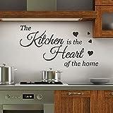 Yyhmkb Kitchen Is The Heart Wall Quotes Stickers Tatuajes de pared Arte de la pared Decoración de la pared 2 colores-Envíenos un mensaje