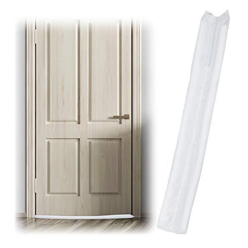 Relaxdays 10027779_49 Boudin isolant pour les portes, sur 2 côtés, contre les courants d'air et le froid, en tissu, 90 cm, blanc, polyester, One size