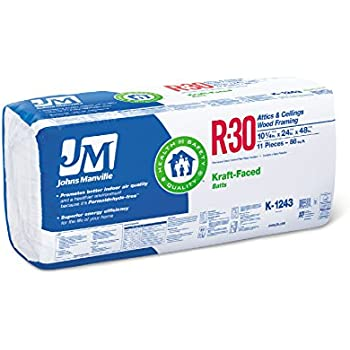 Johns Manville R30 24 48 Kraft Paper Faced 8 Bags Of Fiberglass Insulation 704 Sf Amazon Com