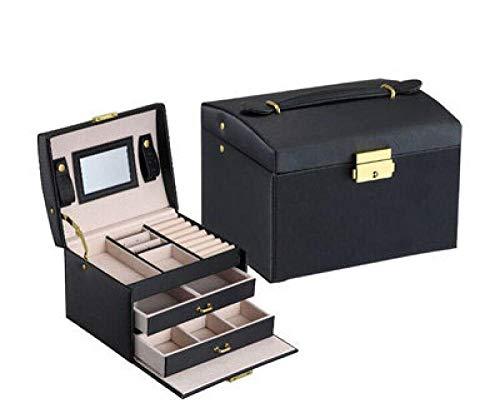 Three-layer double drawer jewelry box pu leather large storage box Princess jewelry storage box accessory storage-China_C_17.5x14x13cm