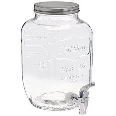 FineDine Glass Beverage Dispenser Mason Jar with Leak Proof Spigot - Wide Mouth Easy Filling Fruits, and Ice - Ideal Drink Dispenser For Parties and Daily Use, 1 Gallon