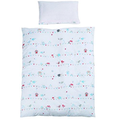 roba Bettwäsche 2-tlg, Kollektion 'Vogeltanz', Kinderbettwäsche 100x135 cm, 100% Baumwolle, Decken-& Kissenbezug für Babys & Kinder