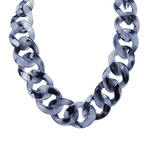 DFWY Acrílico Chunky Declaración de Cadena Collar Collar para Las Niñas de Las Mujeres, Vintage Boho Estilo Resina Eslabón Cadena Gargantilla, Moda Exagerada Suéter Cadena Joyería (Color : Gray)