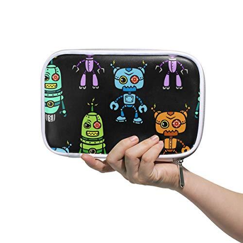 Linomo - Estuche multifuncional para lápices, diseño de caricatura, robot multicolor, cremallera de piel, estuche para lápices, pequeño neceser de maquillaje, para niñas, adolescentes, niños
