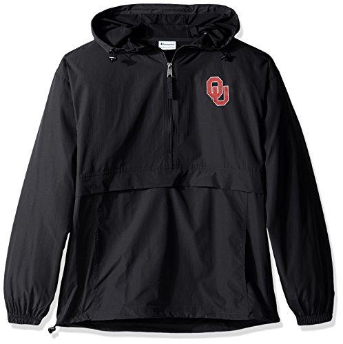 Champion NCAA Mens Half Zip Front Pocket Packable Jacket Oklahoma Sooners XX-Large
