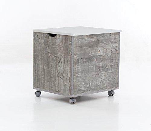 WILMES Truhe auf Rollen mit Klappe, Spanplatte, Melamin Beton/weiß Dekor, 50 x 42 x 50.5 cm