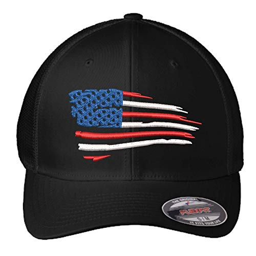 American Flag Flexfit Hat   Custom Embroidered Flexfit Hat USA   Waving Flag Hat