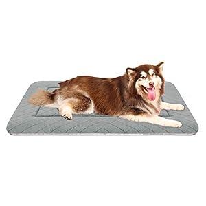 Hero Dog Jumbo Dog Bed Mat Crate Pad 46 Inch Washable Anti Slip Pet Sleeping Beds Soft Dog Mattress Light Grey, XL