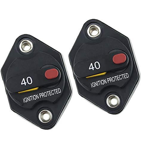 F Fityle Interruptor de Circuito de 40A Motor Auto Car Marine Boat Bike Terminal de Audio Estéreo Inversor de Fusible en Línea con Reinicio Manual - 2 Piezas