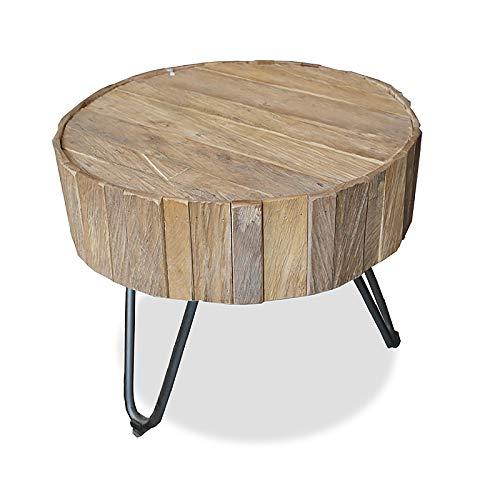 MÖBEL IDEAL Couchtisch aus massivem Teak/Teakholz im rustikalen Design Tisch - Ø 50 cm x H 43 cm - Beistelltisch in Braun Massivholz