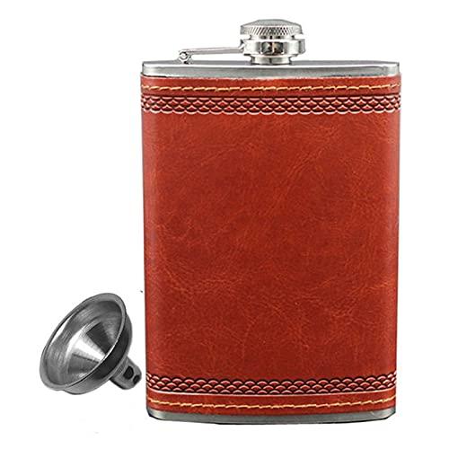 De múltiples fines Frasco de cadera con frascos de acero inoxidable de 9 oz para el líquido para el líquido al aire libre Whisky PU Pocket Frasco de bolsillo para alcohol Set de regalo para almacenar