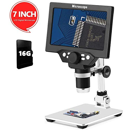 G1200 Electronic Digital Microscope 12MP 7 Inch Large Base LCD Display 1-1200X Continuous Amplification Magnifier Tool