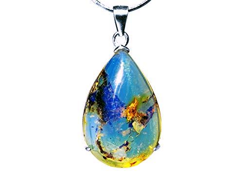 Blue Amber echter Edelstein Anhänger blauer Bernstein Karibik Luxus Halskette Herren und Damen Sterlingsilber 925 in exclusiver LED Geschenkbox I Edelstein Kette Glücksbringer Bernstein 20.0 carats