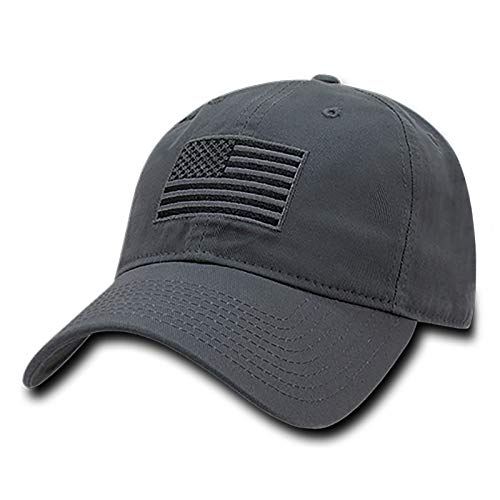 Rapid Dominance American Flag Embroidered Washed Cotton Baseball Cap - Dark Grey